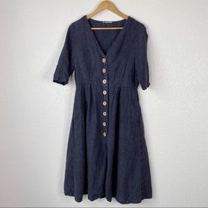 Mango Alaua Wash Black 100% Linen Midi Dress